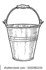 Bucket illustration, drawing, engraving, ink, line art, vector