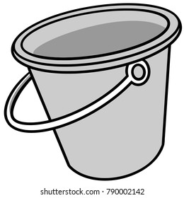 Bucket Illustration - A vector cartoon illustration of an empty Bucket.