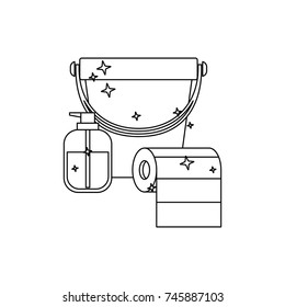 bucket and liquid soap and roll paper towel in monochrome silhouette vector illustration