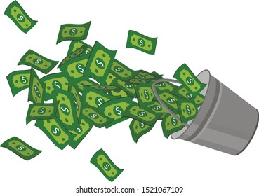 bucket of money a lot of cash