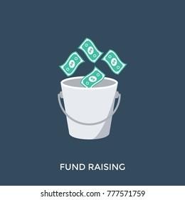 A bucket and money symbolising funds raising, vector illustration