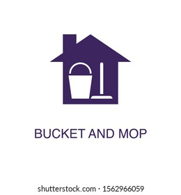 Bucket and mop element in flat simple style on white background. Bucket and mop icon, with text name concept template