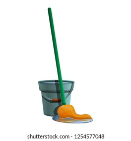 Bucket mop icon. Cartoon of bucket mop vector icon for web design isolated on white background