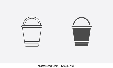 Bucket outline and filled vector icon sign symbol