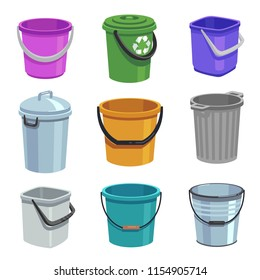 Bucket and pail set. Empty containers with handle, trash bins and buckets with water. Cartoon isolated set. Container bucket for garbage, vector illustration