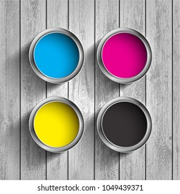 Bucket of paint CMYK on a wooden background. Color scheme for the printing industry. Stock vector illustration.