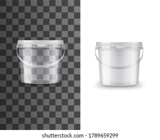 Bucket of plastic, food package container, vector white, blank 3d mockup. Paint bucket or round box pack, transparent tub pot or jar with handle and lid for yogurt, cream, dairy or putty package