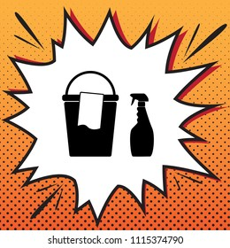 Bucket and a rag with Household chemical bottles. Vector. Comics style icon on pop-art background.