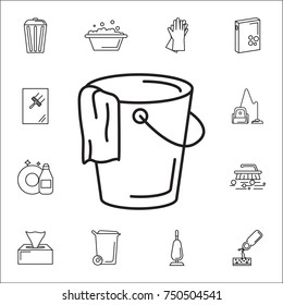 Bucket and a rag icon. Set of cleaning tools icons on white background