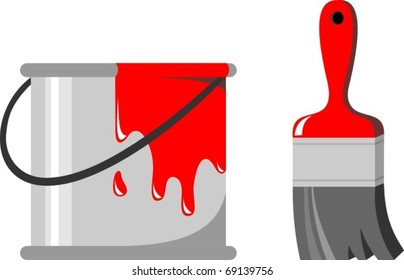 A bucket of red paint and a brush