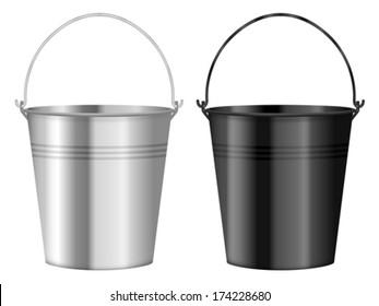 Bucket set on a white background. Vector illustration.