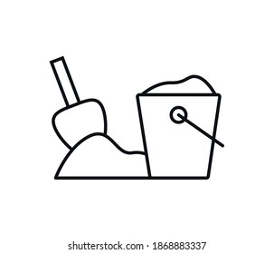 Bucket and shovel with sand vector illustration flat icon isolated, kids toys tools symbol, bucket shovel tag, bucket and shovel modern design poster.