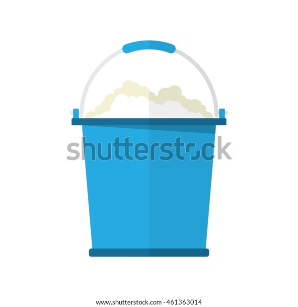 bucket with soap bubbles, cleaning house concept. Bucket for household. vector illustration in flat design