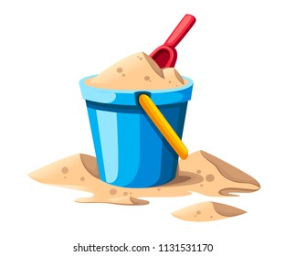 Bucket and spade. Sand in blue bucket with yellow handle. Red shovel. Colorful plastic kid toy. Summer icon. Flat vector illustration isolated on white background.