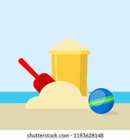 Bucket and spade with sand isolated on background. Shovel for sandbox. Vintage plastic toys for kids. Childhood concept. Vector cartoon design