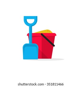 Bucket and spade with sand vector illustration flat icon isolated on white, kid toys tools symbol, pail shovel label, modern design sticker, sandbox place sign badge ribbon, logo concept