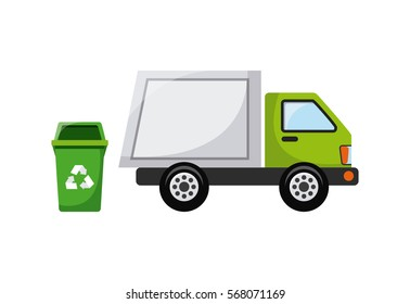 bucket of trash with recycle sign and Garbage car over white background. colorful design. vector illustration