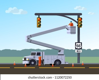 Bucket truck service electrician worker repair or reinstall traffic lights at highway. Aerial work bucket vehicle. Modern vector illustration.