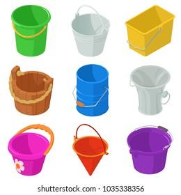 Bucket types container icons set. Isometric illustration of 9 bucket types container vector icons for web