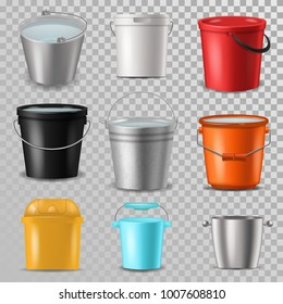 Bucket vector bucketful and bitbucket plastic pail empty or with water bucketing down in garden and garbagepail or pailful for gardening set illustration isolated on transparent background