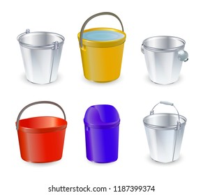 Bucket vector bucketful and bitbucket plastic pail empty or with water bucketing down in garden or pailful for gardening set illustration isolated on transparent background. Vector illustration.