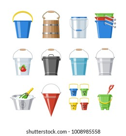 Bucket Vector Bucketful Or Wooden Pailful And Kids Plastic Pail For Playing  Empty Or With Water