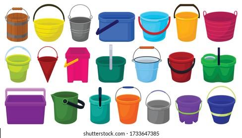Bucket vector cartoon set icon. Vector illustration plastic bucketful on white background. Isolated cartoon set icon bucket.