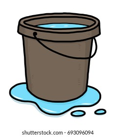 bucket of water / cartoon vector and illustration, hand drawn style, isolated on white background.