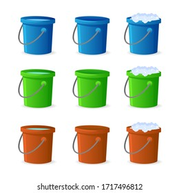Bucket with water and cleaning agent isolated on white background