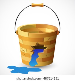 Bucket with water isolated on white background. Wooden bucket with a hole. Damaged, corrupted bucket. Vector illustration.