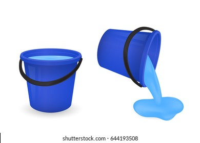 A bucket with water isolated on white background. Vector illustration.