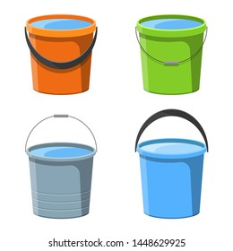 Bucket with water vector design illustration isolated on white background