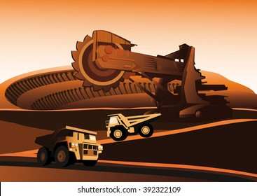 Bucket wheel excavator and trucks in a quarry.