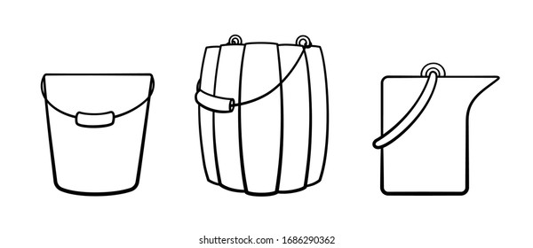 Buckets in black lines set. For cleaning, bathhouse and gardening. Plastic, wooden and metal. White background, vector.
