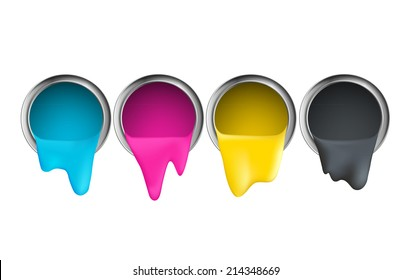 buckets with cyan magenta yellow black paint on a white background