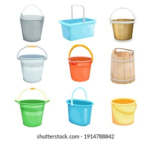 Buckets vector illustrations set. Plastic, steel, wooden cartoon pails for water, container with handle isolated on white. For housework, domestic utensils, washing concept