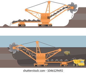 Bucket-wheel excavator, quarry rotary machine at work, mining dump truck loaded with ore, quarrying and extractive industry heavy equipment. Vector illustration