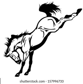 bucking horse black and white side view illustration