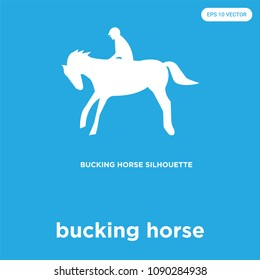 bucking horse vector icon isolated on blue background, sign and symbol, bucking horse vector iconic concept
