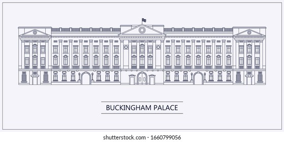 Buckingham palace outline flat vector illustration. London Attractions