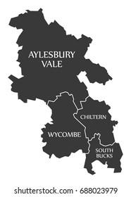 Buckinghamshire county England UK black map with white labels illustration
