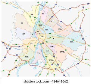 budapest administrative and road map