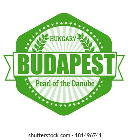 Budapest capital of Hungary label or stamp on white, vector illustration