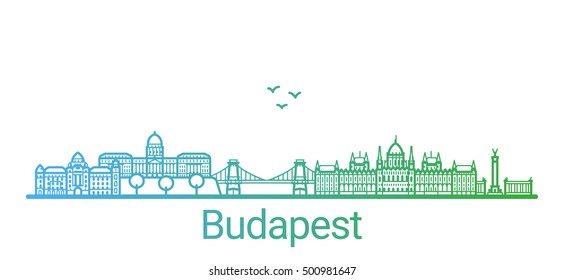 Budapest city colored gradient line. All Budapest buildings - customizable objects with opacity mask, so you can simple change composition and background fill. Line art.