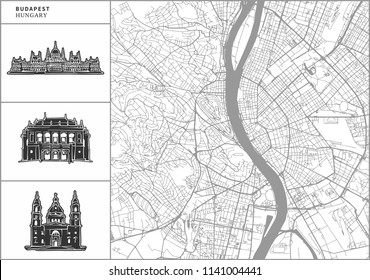 Budapest city map with hand-drawn architecture icons. All drawigns, map and background separated for easy color change. Easy repositioning in vector version.