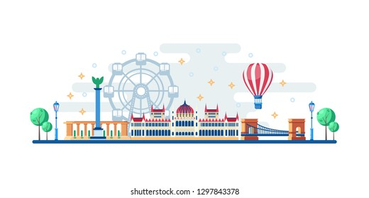 Budapest cityscape with famous touristic landmarks. Vector flat illustration. Travel to Hungary horizontal banner design. Parliament, Heroes Square and Chain Bridge.