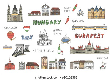 Budapest Hungary attraction color set.