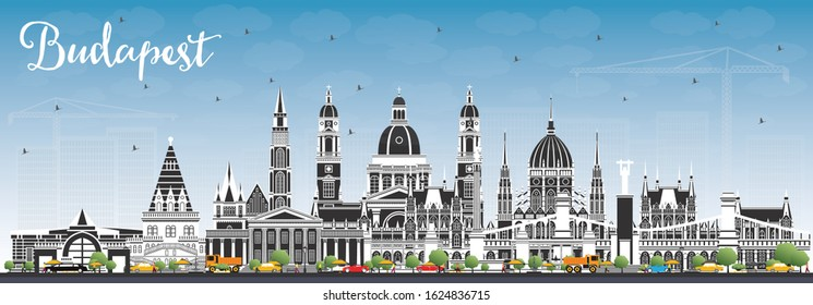 Budapest Hungary City Skyline with Gray Buildings and Blue Sky. Vector Illustration. Business Travel and Tourism Concept with Historic Architecture. Budapest Cityscape with Landmarks.