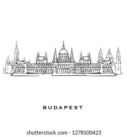 Budapest Hungary famous architecture. Outlined vector sketch separated on white background. Architecture drawings of all European capitals.