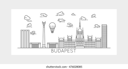 Budapest Hungary linear design. cityscape with famous buildings monuments and landmarks